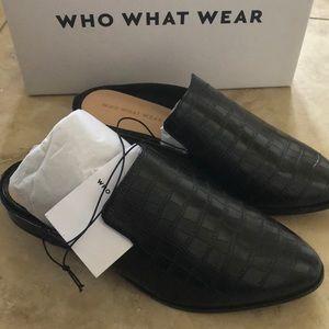 Who what wear faux black croc mules